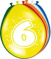 8 Ballons Birthday Zahl 6 30cm