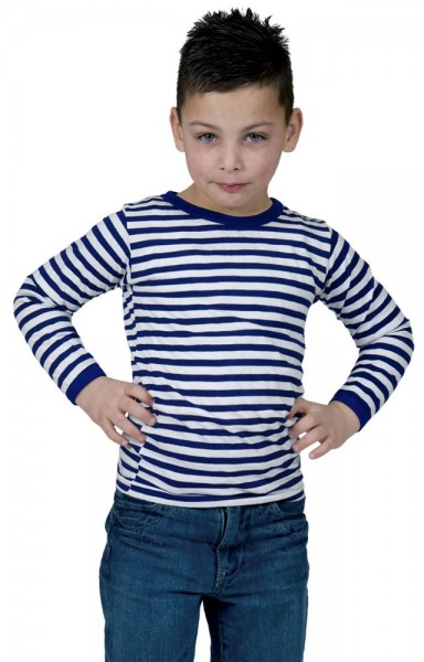 Langarm Ringelshirt Für Kinder Blau-Weiß