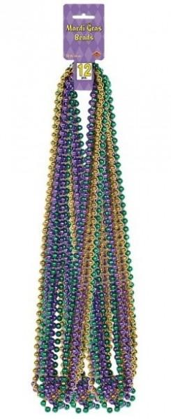 12 colliers de perles colorées Mardi Gras