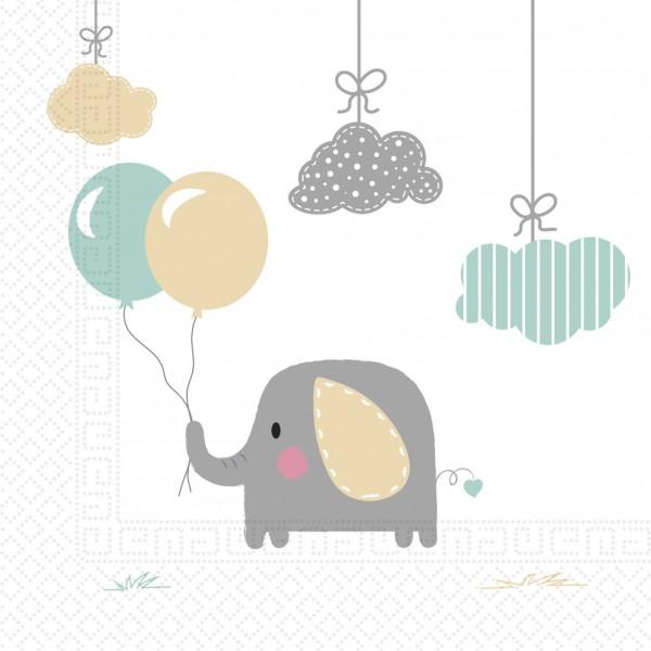 20 servilletas bebé elefante 33cm