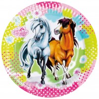 8 Pappteller Partytime Charming Horses 23cm