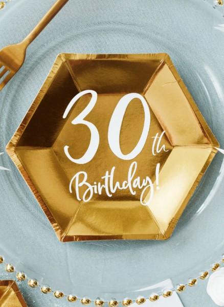 6 błyszczących talerzy na 30 urodziny 20x17cm