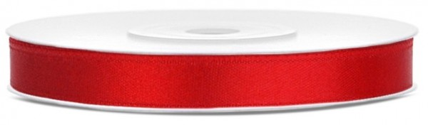 25m satin ribbon red 6mm wide