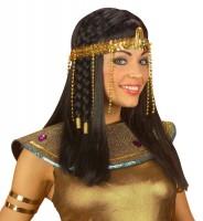 Glänzendes Pailletten Stirnband mit Ketten Gold