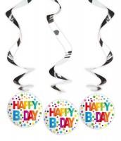 3 Splendid Birthday spiral hangers 70cm