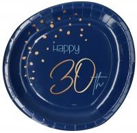 30. Geburtstag 8 Pappteller Elegant blue