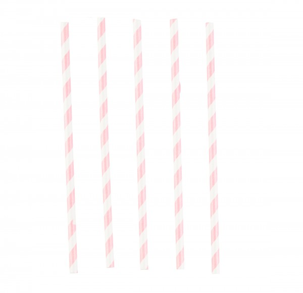 12 pink striped paper straws