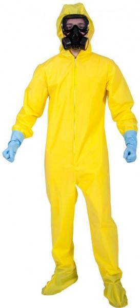 Gele overall in quarantaine-beschermpak
