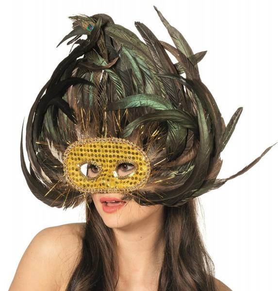 Auffällige Goldmaske Mit Pompösen Federn