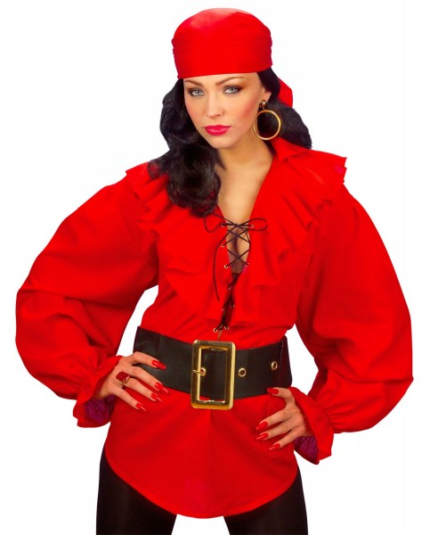Red pirate lady blouse Sila