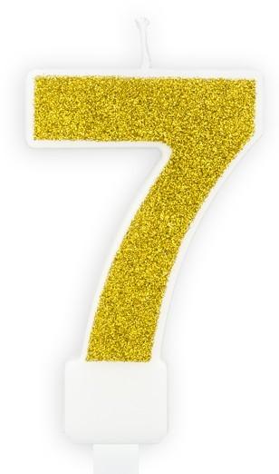 Goldschimmer Tortenkerze Zahl 7