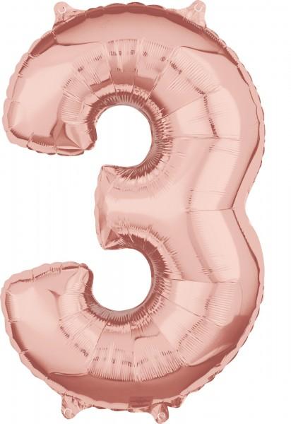 Zahlen Folienballon 3 Rosegold 1
