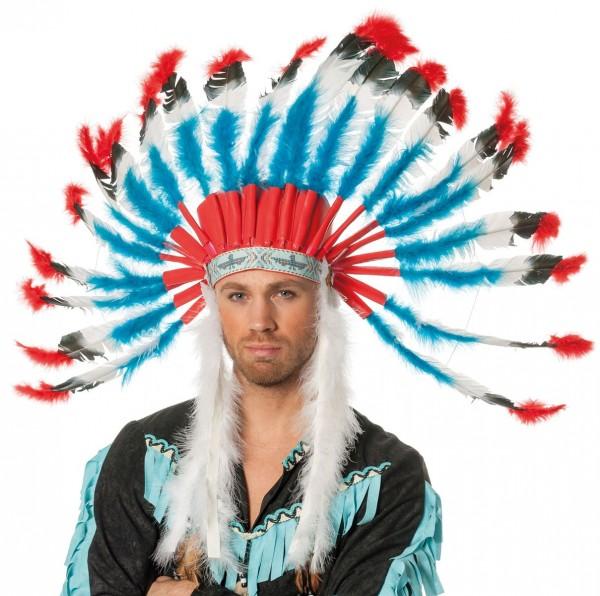 Plüschiger Indianer XXL Federkopfschmuck