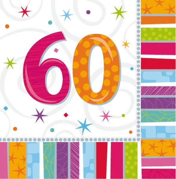 Bunte Regenbogen Serviette Zum 60.Geburtstag 16 Stück 1
