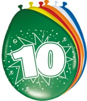 8 Ballons Birthday Zahl 10 30cm