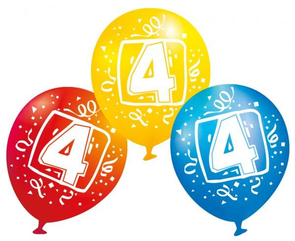 6 Luftballons Ziffer 4 bunt 23 cm