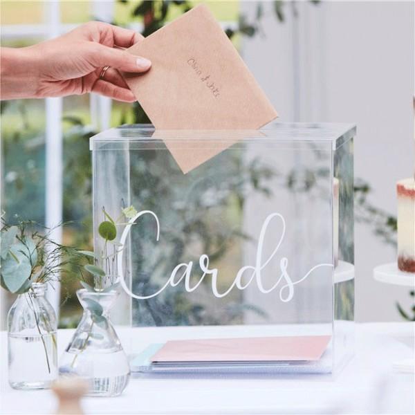 Boîte transparente pour cartes de vœux