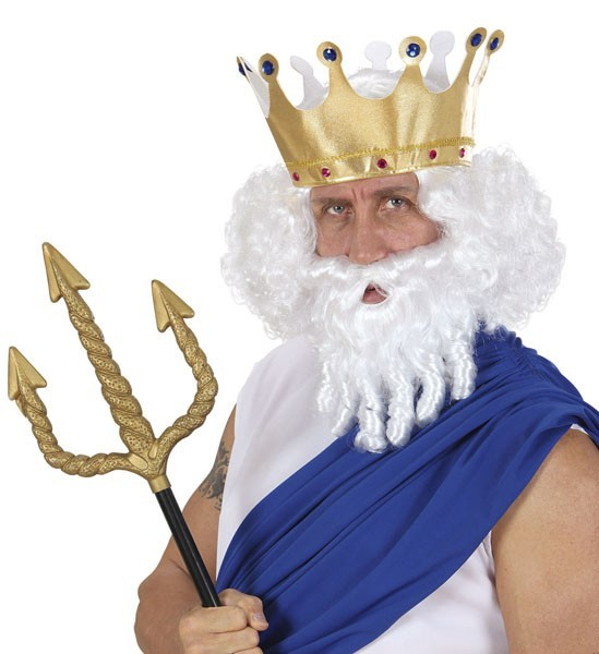 Witte Poseidon herenpruik met baard