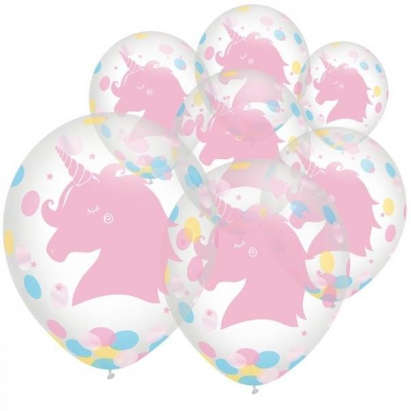 6 ballons confettis licorne 30cm