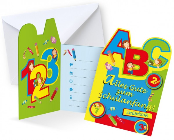 6 cartes d'invitation pour l'inscription scolaire