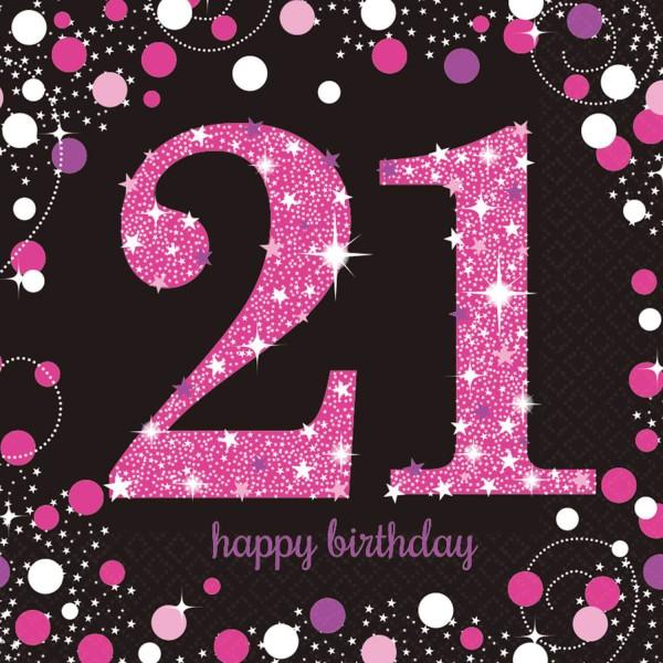 16 servilletas rosa 21 cumpleaños 33cm