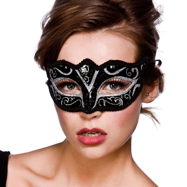 Schwarz-Silberne Augenmaske Venezia