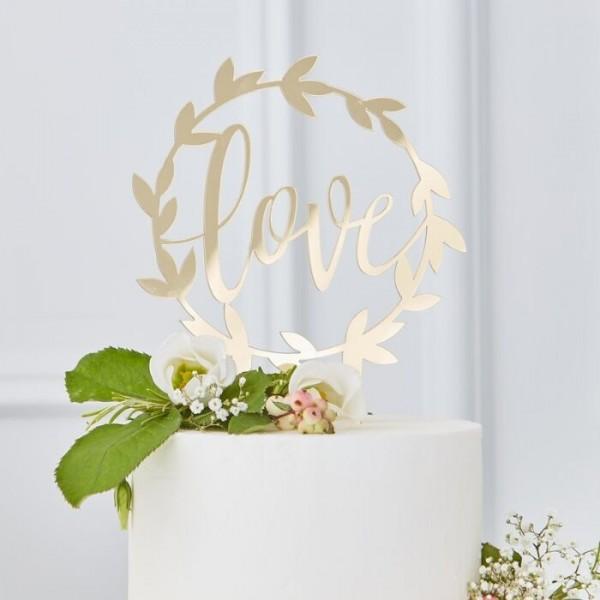 Golden Love acrylic cake decoration