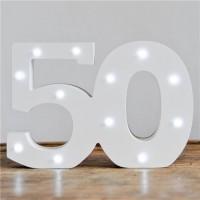LED Zahl 50 Aufsteller 16 x 32cm