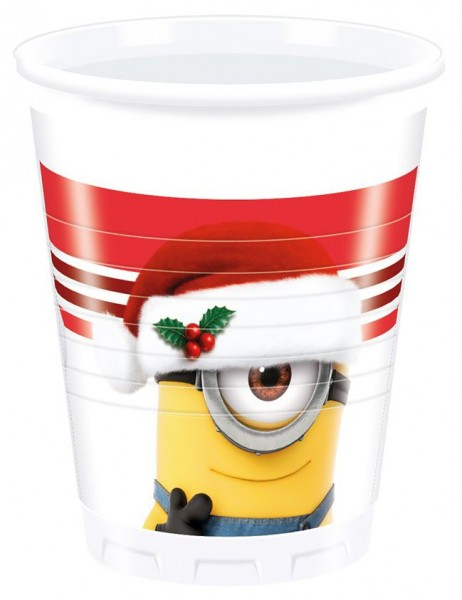 8 Minions Christmas Becher 200ml