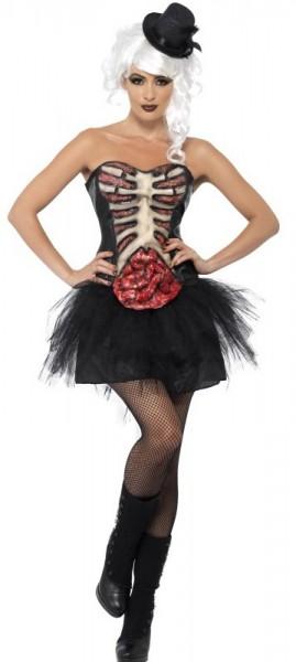 Disfraz de mujer corsé de esqueleto con caja torácica