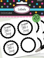 20 self-adhesive labels with black flower border