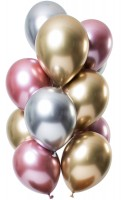 12 Latexballons Spiegel Effect pink gold