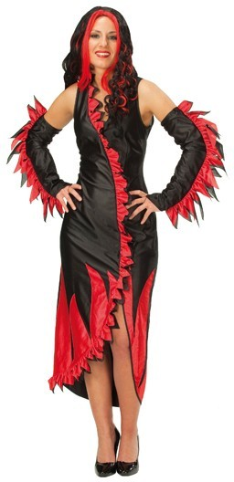 Fire costume women red black dress arm warmers