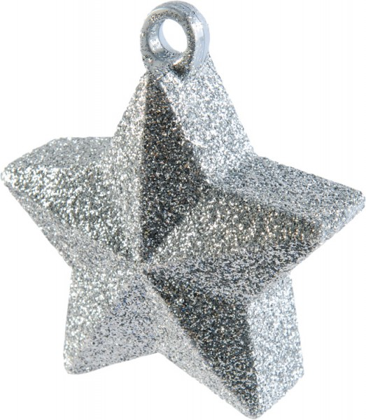 Glitter star balloon weight in silver