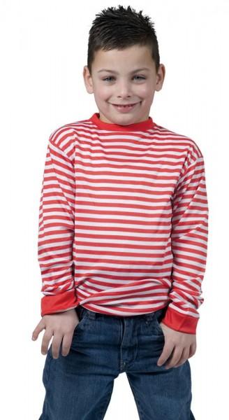 Camisa de manga larga a rayas para niño rojo-blanco