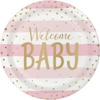 8 Welcome Baby Girl Pappteller 23cm
