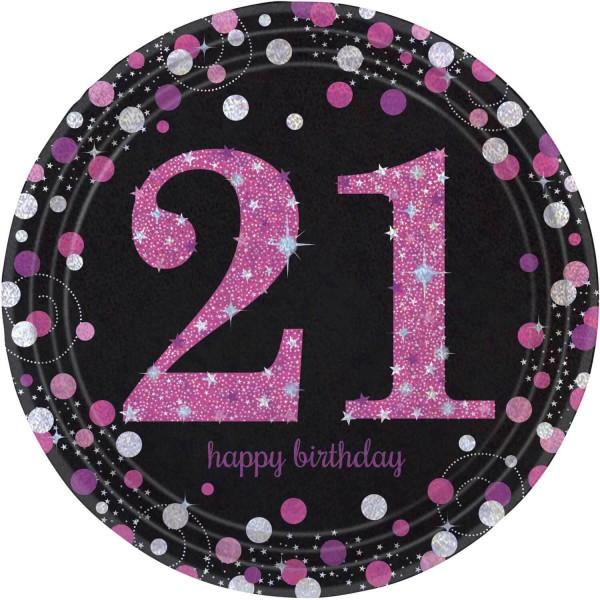 8 Pink 21st Birthday Pappteller 23cm