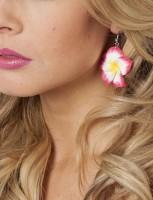 Blüten Ohrringe Mauritius Weiß-Pink
