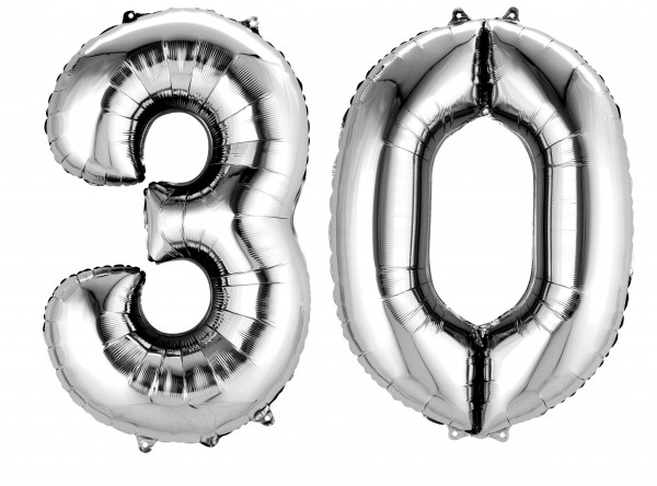 Folienballon Zahl 30 silber metallic 88cm