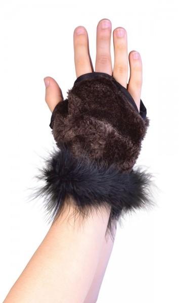Vingerloze pluche handschoenen in bruin