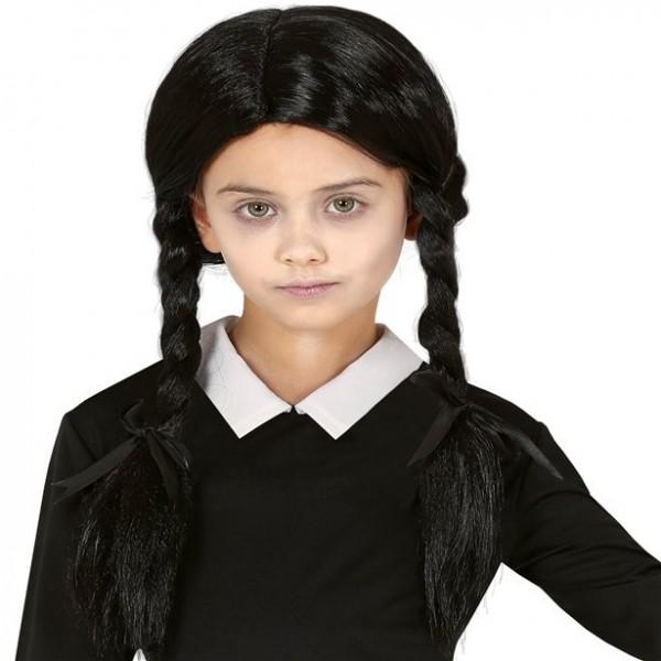 Perruque tresse noire d'Halloween pour fille