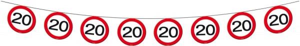 Verkehrsschild 20 Wimpelkette 12m