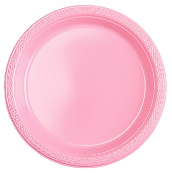 20 platos de plástico Mila rosa claro 22,8cm