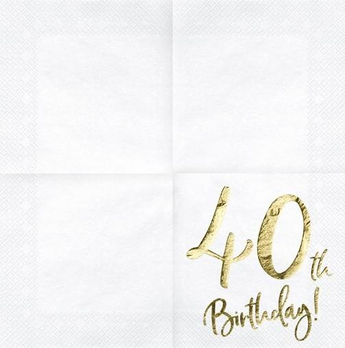 20 servilletas doradas 40 cumpleaños 33cm