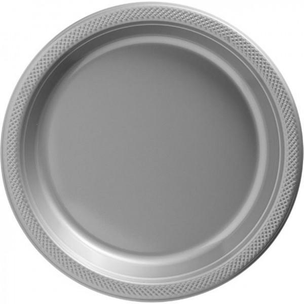 50 platos de plástico de alta calidad plateados 26cm