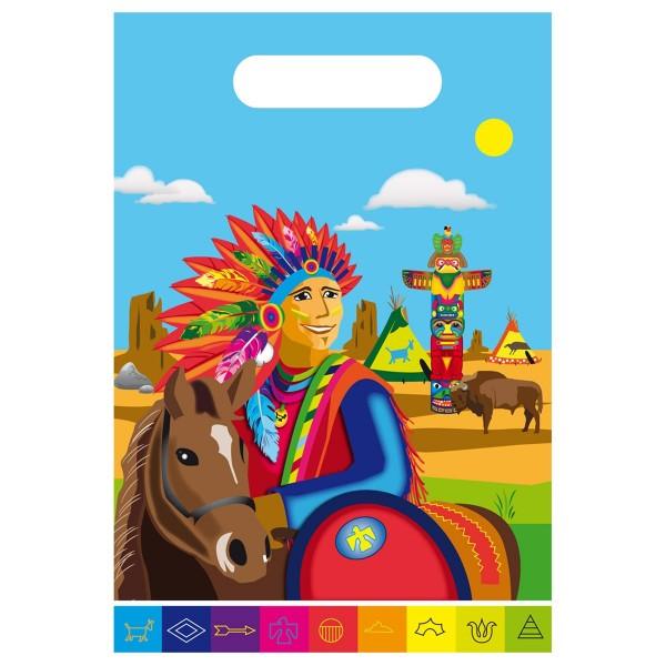 8 Bunte Indianer Geschenktüten