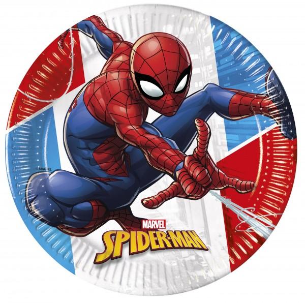 8 Spiderman eco power paper plates 23cm