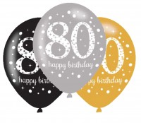 6 Golden 80th Birthday Ballons 27,5cm