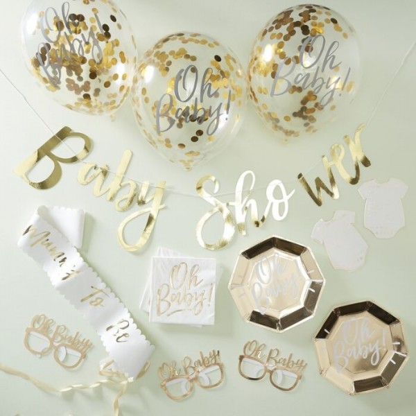 Goldenes Oh Baby Partyset 55-teilig