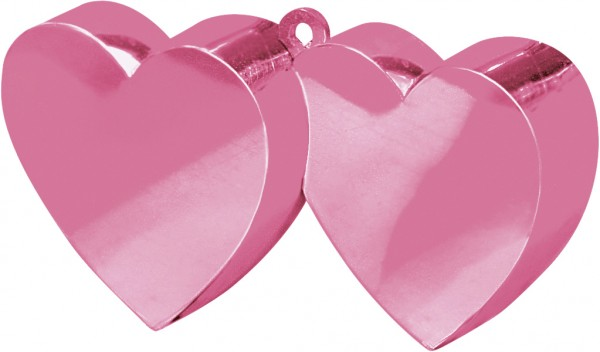 Double heart balloon weight in pink